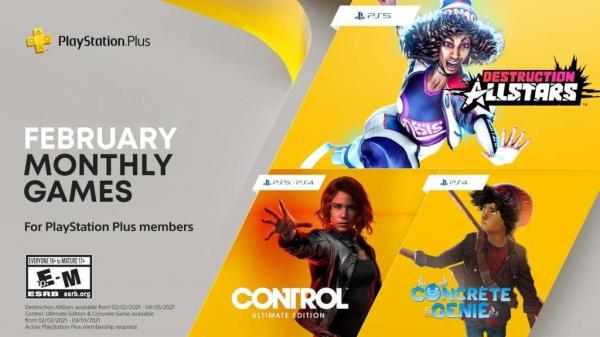 Подписчики PS+ получат Control Ultimate Edition и Concrete Genie. Sony показала новый геймплей Desctruction AllStars, которую также получат подписчики